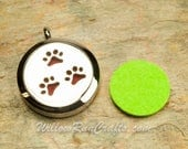 Essential Oil Diffuser Necklace Pet Paw 316L Stainless Steel Locket with Chain 30mm