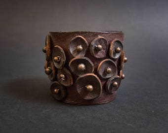 40% OFF SALE 40 Percent OFF Sale Wide Rustic leather flowers cuff bracelet wristband brown  boho jewelry