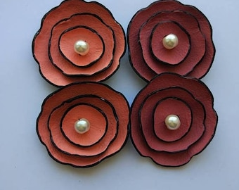 40% OFF SALE 4 pcs Jewelry supplies leather flowers for pendants, necklaces, brooches, shoes clips etc Handmade supplies
