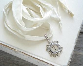 Typewriter Key Necklace. Letter T Necklace. Vintage Typewriter Key Jewelry. Long Boho Sari Silk Ribbon Necklace. Upcycled Eco Friendly Gift.