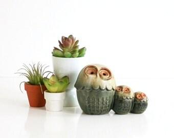 SALE - Retro Stoneware Owl Family / Mid Century California Pottery Owls Figurine / Mid Century Owl Figurine