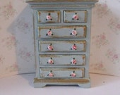 Dollhouse  Chest of drawers, smaller, bedroom, , duck egg blue,  with rose bouquets,  Twelfth scale dollhouse miniature