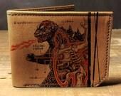 godzilla wallet,  leather wallet, mens wallet, groomsman gift, geekery - 036