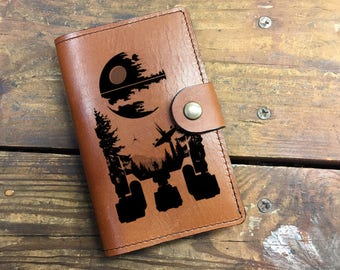 R2D2 Leather Journal, Leather Sketchbook, Leather Passport cover, R2D2 Journal, moleskin Journal, field notes journal, moleskin cover