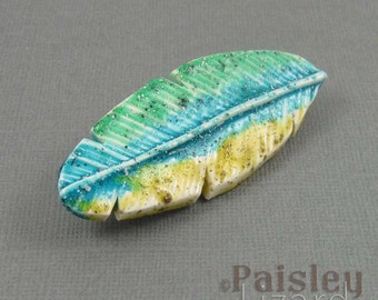 Parrot Feather Brooch, blue green polymer clay feather with locking pin back
