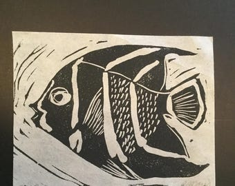 Angelfish Linoprint | Black Fish Art | Bathroom Art | Hand pulled print