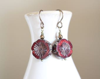 Red flower earrings, red Czech glass flower, boho style earrings, red pansy earrings
