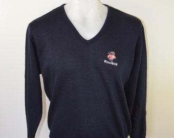 on sale Vintage UW MADISON Bucky Badger v-neck sweater CHAMPION Blue Bar large rayon 1960's