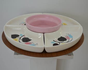 Vintage LAZY SUSAN ceramic and wood Made in USA pink with flowers 1950's 60's