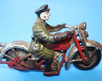 Vintage Cast Iron Police Patrol Motorcycle Cop