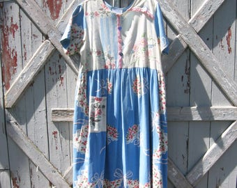 1970s handmade tablecloth dress XL XXL 2X 3X