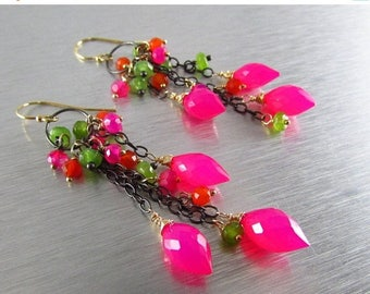 25% Off Colorful Pink Chalcedony Dangle Oxidized Sterling Silver Cluster Earrings