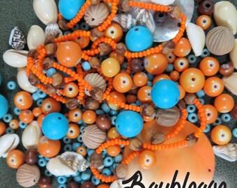Bead Lot, Turquoise and Tangerine, Bead Blend, OOAK, Bead Assortment, Aqua, Orange, Inspiration, Salvaged Beads