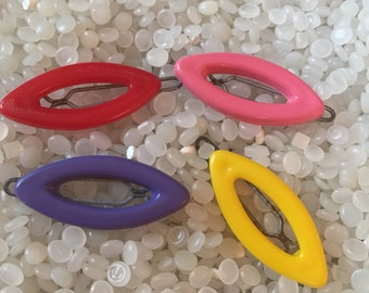Vintage barrette,   teeny tiny , red , pink, yellow and purple  open oval