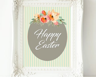Happy Easter print instant download Easter printable Easter decor Easter wall art Easter sign Happy Easter art Easter poster