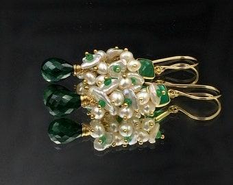 Emerald Earrings, Green Earrings, Keishi Pearl Cluster, Gold Fill, Wire Wrap Green Gemstone, May Birthstone, Green Onyx