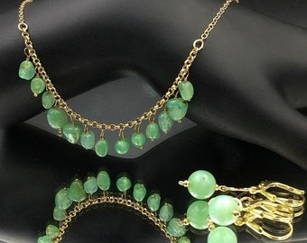 50% SALE Green Chrysoprase Dangle Necklace Gold Fill Wire Wrap Fringe Necklace Green Stone Layering Necklace Boho Chic Necklace