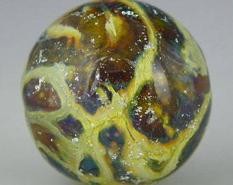 handmade lampwork glass bead a unique round focal done in reactive glass with silver and dichroic - Ocelot Orb