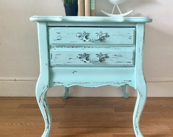 Vintage french provincial distressed and painted  night stand wood