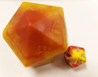 D20 Die Soap with Moving Chessex Die Inside | Yuzu Scented Yellow Red D20 soap | Tabletop Gaming Soap | Dungeons and Dragons Soap | MtG D&D