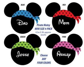Disney Inspired Pirate Matey MINI Size Mouse Head Magnet 4-Pack - Choose Any Four - For Your Disney Cruise