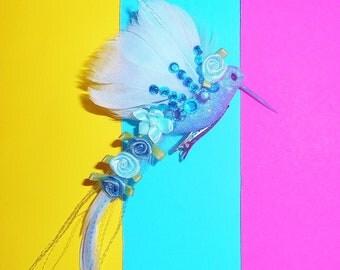 Blue Enchanted Bird Barrette