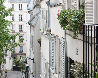 Paris Photography, Spring in Montmartre, blue shutters, Parisian Rooftops, Paris Wall Art, France, French Wall Decor, Opera House
