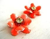 Bright Orange Enamel Flower Earrings | Rhinstone Flower Ear Clips | Enamel Flower Earrings | Vintage Jewelry | Clip On Earrings