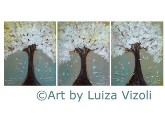 Abstract Painting Landscape Original Oil Art White Tan Brown Sage Turquoise LILAC TREES 48x20  by Luiza Vizoli