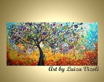Tree Abstract Modern Large Art HUGE Original Painting OLIVE Tree of Life Custom Landscape Single Canvas , different sizes available