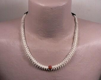 Rattlesnake Vertebra Mens or Womans Adjustable Choker / Necklace / Agate Bead/Bone Beads