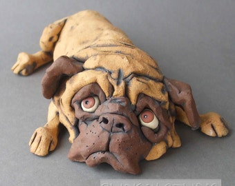 Ceramic Pug Dog Sculpture