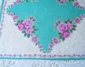 Vintage Handkerchief Hanky Aqua Blue Cotton Floral Fuchsia Pink Roses Shower Favor Bridesmaid Mother of Bride Sympathy Gift Quilt Supplies