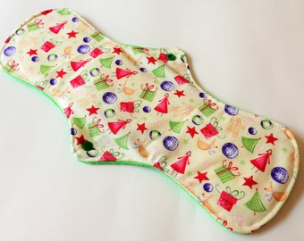 One 14 Inch Minky Topped Winged Cloth Menstrual Pad - PUL Inside - Holiday Presents