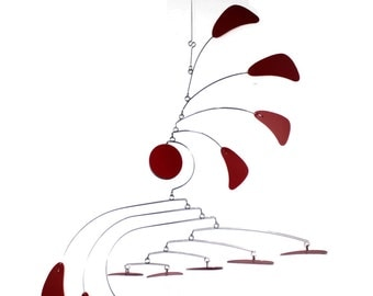 Calder Inspired Mobile - READY TO SHIP - Small Arrow Style Hanging Mobile in Red for the Nursery Playroom or Office