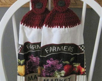 2 Crocheted Hanging Kitchen Towels - Farmers Market