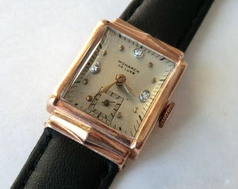 ON LAYAWAY 2nd Payment for Evita 14K Rose Gold Monarch Wrist Watch Curved Crystal 1945 Presentation Gift Inscription, Works