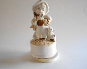 Gardening Girl Girl Figurine Music Box Lefton Love Story Vintage Music Box Revolving Music Box Japan Home Decor Music Box Figurine