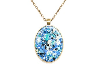 Splatter Painting Pendant - Abstract Art Brass Oval Necklace - Sapphire Sky Colorway: Cobalt Blue, Navy, Black, Gold, Teal