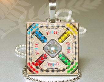 Vintage TROUBLE Game Board Altered Art Photo Under GLASS Pendant Charm Necklace