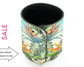 Leather Cuff Wallet also with Contactless Payment Chip  - Tropical Jungle Parrot - SALE!