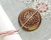 Bronze Colored Vintage Button Needle Minder Needle Magnet Cross Stitch Needlepoint Needle Keeper Ornate Magnetic Needle Minder