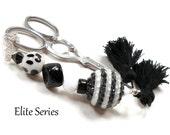 Scissor Fob Elite Series Modern Scissor Keeper Scissor Minder Black White Beaded