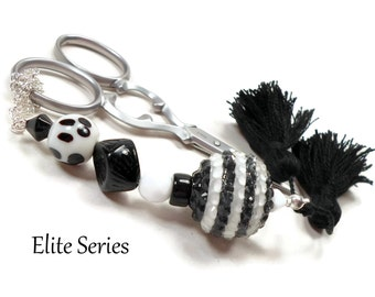 Scissor Fob Elite Series Modern Scissor Keeper Scissor Minder Black White Beaded