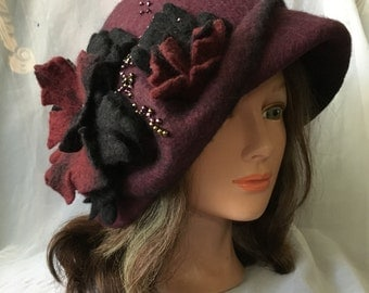 Designer warm wool felted hat cloche. Tatiana123 .red Black Wine burgundy hat
