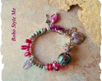 Boho Gypsy Romance, Chunky Glass Beaded Bracelet, Fuchsia and Turquoise, Bohemian Jewelry, Boho Style Me, Kaye Kraus