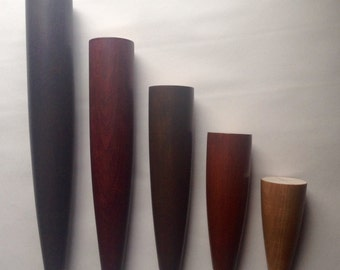 """Danish Style Furniture Legs. Cherry or Oak Wood. Great For Sofas, Beds, Chairs, Tables etc. Choice of Stain Colors. 4""""- 12"""" Set of 4"""