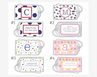 Personalized Luggage Tag, Clear Acrylic Bag Tag with Loop - Dots