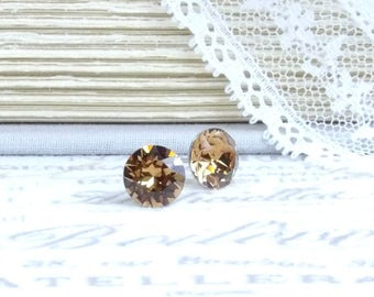 Brown Stud Earrings Brown Crystal Studs Solitaire Earrings 8mm Studs Surgical Steel Studs