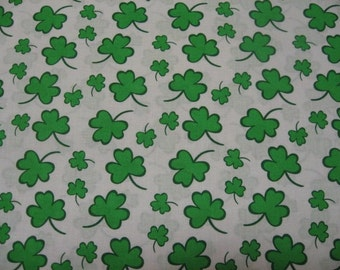 St Patrick's Day  fabric Shamrocks on White cotton fabric  to sew